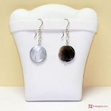 Ball Mother of Pearl Earrings and chain in Silver