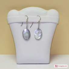 Oval Mother of Pearl Earrings and chain in Silver