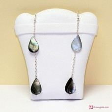 Two Drops of water Mother of Pearl Earrings and little chain in Silver