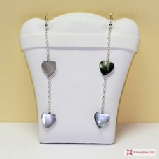 2 Hearts Mother of Pearl Earrings and little chain in Silver