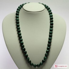 Extra Malachite Necklace 12mm round in Gold 18K