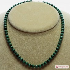 Extra Malachite Necklace 6mm round in Gold 18K