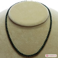 Extra Malachite Necklace 4mm round in Silver
