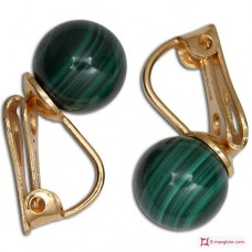 Extra Malachite Earrings 8mm in Gold 18K clip