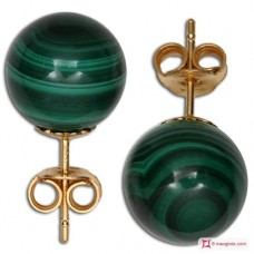 Extra Malachite Earrings 10mm in Gold 18K
