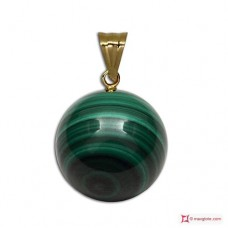 Pendente Malachite Extra 8mm in Oro 18K