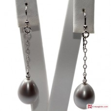 Extra Biwa Pearl Earrings silver gray 11-12mm little chain in Gold 18K