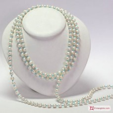 Cultured Pearls 8-8½mm and Turquoise Necklace L. 2 meters in Silver