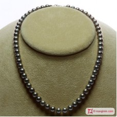 Pearl Necklace Silver Gray TOP 7-7½mm in Gold 18K