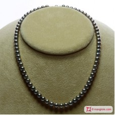 Pearl Necklace Silver Gray TOP 6-6½mm in Gold 18K