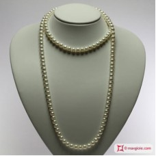 Pearl Necklace white TOP 7-7½mm L100 in Gold 18K