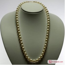 Pearl Necklace white TOP 10mm in Gold 18K
