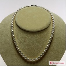 Japanese Akoya Pearl Necklace white TOP 7-7½mm in Gold 18K