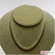 Japanese Akoya Pearl Necklace white TOP 6-6½mm in Gold 18K