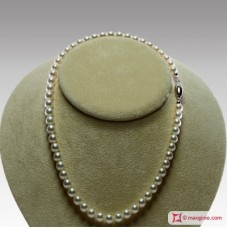 Japanese Akoya Pearl Necklace white TOP 7-7½mm in Gold 18K r22