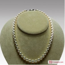 Japanese Akoya Pearl Necklace white TOP 8-8½mm in Gold 18K