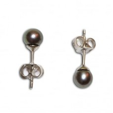 Pearl Earrings gray 4-4½mm in Gold 18K