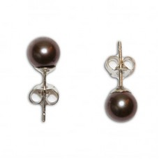 Pearl Earrings gray 5-5½½mm in Gold 18K
