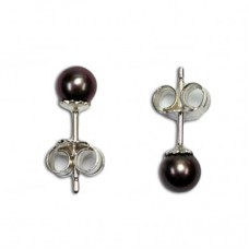 Pearl Earrings gray 5-5½mm in Silver