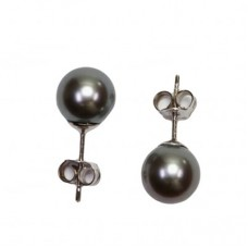 Akoya Pearl Earrings gray TOP 7-7½mm in Gold 18K