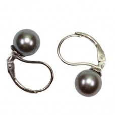 Akoya Pearl Earrings gray TOP 7-7½mm in Gold 18K mmp