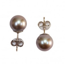 Akoya Pearl Earrings gray TOP 8-8½mm in Gold 18K