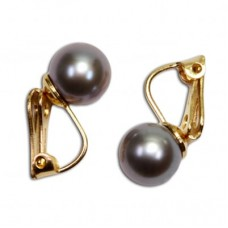Akoya Pearl Earrings gray TOP 8-8½mm in Gold 18K clip