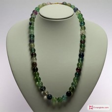 Extra Fluorite Necklace 12mm round L60 in Silver