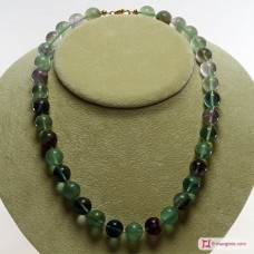 Extra Fluorite Necklace 12mm round in Silver
