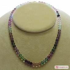 Extra Fluorite Necklace 6mm round in Silver
