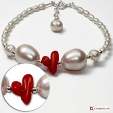 Trendy Bracelet red Coral Pearls in 925 Silver