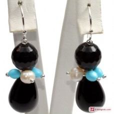Trendy Earrings Turquoise Pearls black Agate in 925 Silver id04
