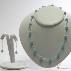 Necklace and Earrings Turquoise 4Flowers segments in Silver