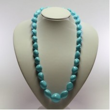 Extra Turquoise Necklace 13x16-23x24mm graduated small stones in Gold 18K