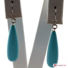 Extra Turquoise Earrings 8x30mm in Gold 18K