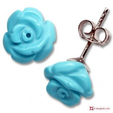 Extra Turquoise Earrings rose 8mm in Gold 18K [various clasps]