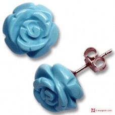 Extra Turquoise Earrings rose 10mm in Gold 18K [various clasps]