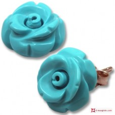 Extra Turquoise Earrings rose 12mm in Gold 18K [various clasps]