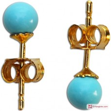 Extra Turquoise Earrings 4mm in Gold 18K