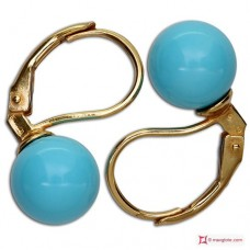 Extra Turquoise Earrings 8mm in Gold 18K mmp