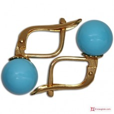 Extra Turquoise Earrings 8mm in Gold 18K m
