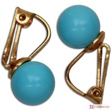 Extra Turquoise Earrings 8mm in Gold 18K clip