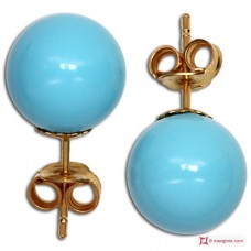 Extra Turquoise Earrings 10mm in Gold 18K