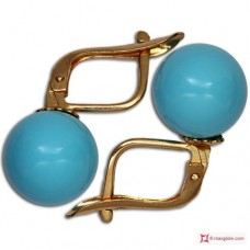 Extra Turquoise Earrings 10mm in Gold 18K m