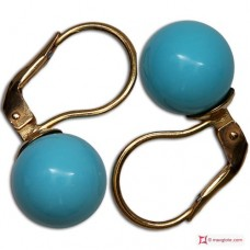 Extra Turquoise Earrings 10mm in Gold 18K mmg