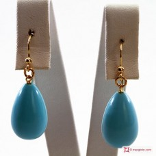 Extra Turquoise Earrings 10x17mm in Gold 18K