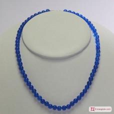 Collana Agata blu pallini 6mm in Argento