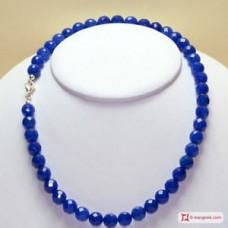 Collana Agata blu faccettato pallini 10mm in Argento