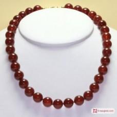 Collana Agata rossa pallini 12mm in Argento