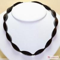 Collana Agata nera oliva 4 lati in Argento